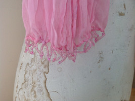 Scrunched Style Pink Real Gold Stamped Embossed Beaded Scarf Beaded Tassels image 8