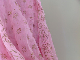 Scrunched Style Pink Real Gold Stamped Embossed Beaded Scarf Beaded Tassels image 6
