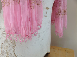 Scrunched Style Pink Real Gold Stamped Embossed Beaded Scarf Beaded Tassels image 7