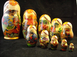 Set of 10 Large Russian Nesting Doll Lacquered Wood folk tale scenes  Shebabonof image 2