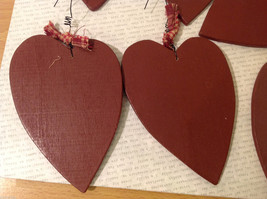 """Set of 11 Wooden Red Heart Tree Ornaments """"DREAM BIG"""" with ribbons image 4"""