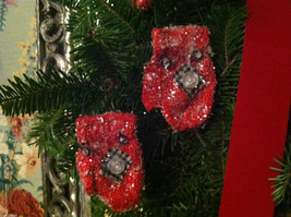 Set of 12 Red Knit Snow Covered Mitten Christmas Ornaments image 2