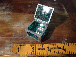Sea Green Embossed Glass Ring Box Mirrored Bottom Paisley Designed Glass image 6