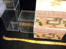 Set of 4 Storage Containers, 2 Clear Acrylic, and 2 Rose Designed image 2