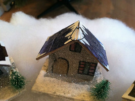 Set of 4 Little Ornament Winter Houses with glitter paint and snow image 4