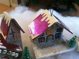 Set of 4 Little Ornament Winter Houses with glitter paint and snow image 2