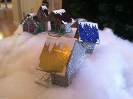 Set of 4 Little Ornament Winter Houses with glitter paint and snow image 6
