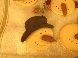 Set of 4 vintage image wood Snowman head ornaments carved with checked fabric image 5