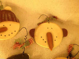 Set of 4 vintage image wood Snowman head ornaments carved with checked fabric image 6
