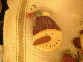 Set of 4 vintage image wood Snowman head ornaments carved with checked fabric image 7