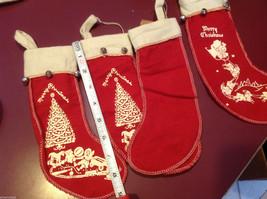 Set of 4 vintage look felt stocking w bells small Santa chimney reindeer tree image 4
