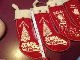 Set of 4 vintage look felt stocking w bells small Santa chimney reindeer tree image 5