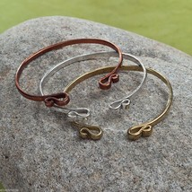 Set of three copper silver gold rustic bangle set NEW image 3
