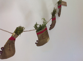 Seven Hanging Christmas Stocking Ornaments BELIEVE Garland image 10
