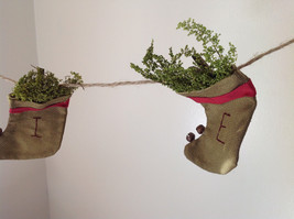 Seven Hanging Christmas Stocking Ornaments BELIEVE Garland image 4