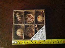 Set of 6 Vintage look  Candy Themed Christmas Ornaments resin image 6