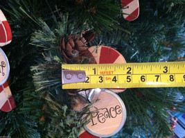 Set of 6 Wooden Candy Cane Tree Ornaments with Pine and Bell Decoration image 6