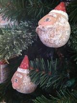 Set of 6 Round Santa Claus Heads - Red/White Polka Dot Cap Christmas ornaments image 3