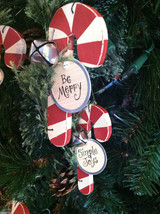Set of 6 Wooden Candy Cane Tree Ornaments with Pine and Bell Decoration image 3