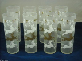 Set of 8 Iced Tea Glasses with Enamel Overlay of Horses image 2