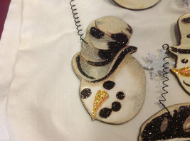 Set of 6 vintage image wood Snowman head ornaments with glitter and snowflakes image 5