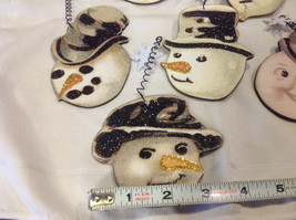 Set of 6 vintage image wood Snowman head ornaments with glitter and snowflakes image 3