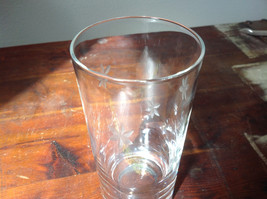 Set of Eight Clear Tall Water Glasses with Copper Wheel Engraving image 3