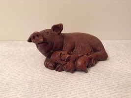 Set of Three Pig Figurines Brown Pink White Mother with Piglets Standing Laying image 2