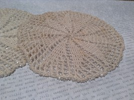Set of Two Vintage Hand work with sparkly beads  Coasters 5 Inches Diameter image 2