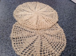 Set of Two Vintage Hand work with sparkly beads  Coasters 5 Inches Diameter image 5