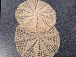 Set of Two Vintage Hand work with sparkly beads  Coasters 5 Inches Diameter image 4