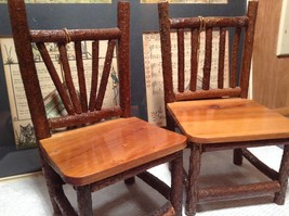 Set of Two Miniature Log Chairs Tags Attached image 3
