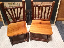 Set of Two Miniature Log Chairs Tags Attached image 2