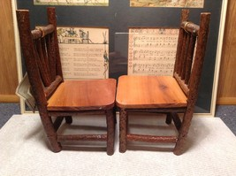 Set of Two Miniature Log Chairs Tags Attached image 6