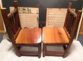 Set of Two Miniature Log Chairs Tags Attached image 7