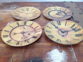 Set of Four Vintage Clock Face Glass Trays Roman Numeral Numbers image 6