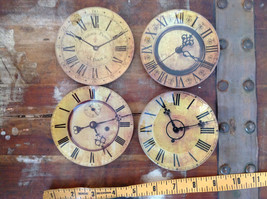 Set of Four Vintage Clock Face Glass Trays Roman Numeral Numbers image 8