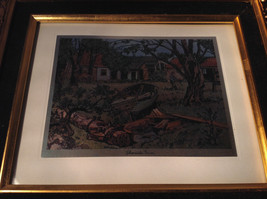 Shore Side Farm Print Painting Gold Tone Frame Relief Wall Decoration image 2