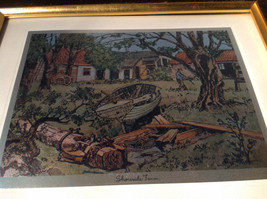 Shore Side Farm Print Painting Gold Tone Frame Relief Wall Decoration image 3