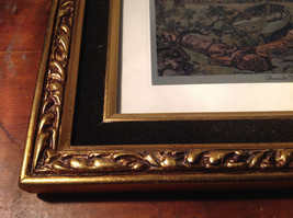 Shore Side Farm Print Painting Gold Tone Frame Relief Wall Decoration image 4
