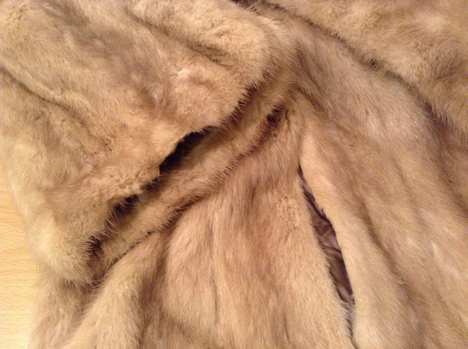 Short Mink Coat Sand Gold Extra Fur Hem on Sleeves No Tags Measurements Below