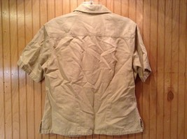 Short Sleeve Brown Crystal Springs Button Down Collared Shirt Size Large image 3