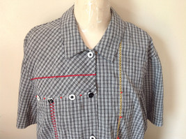 Short Sleeve Collared Button Down Black and White Check Pattern Shirt Size 16W image 2
