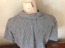 Short Sleeve Collared Button Down Black and White Check Pattern Shirt Size 16W image 7