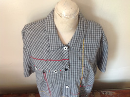 Short Sleeve Collared Button Down Black and White Check Pattern Shirt Size 16W image 4