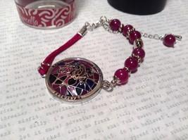 Silver Tone Bracelet Mandala Lizard Violet Beads Adjustable Length Awareness  image 2