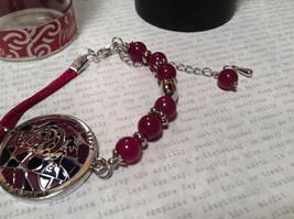 Silver Tone Bracelet Mandala Lizard Violet Beads Adjustable Length Awareness  image 3