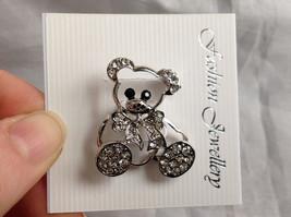 Silver Tone Bear with White Crystals Brooch/Pin Black Stone Eyes Pin Closure image 2