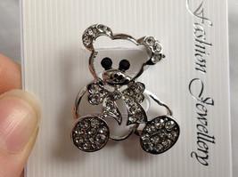 Silver Tone Bear with White Crystals Brooch/Pin Black Stone Eyes Pin Closure image 4