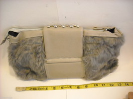 Shoulder Bag with Silvery Gray Faux Fur and Gray Faux Leather image 3